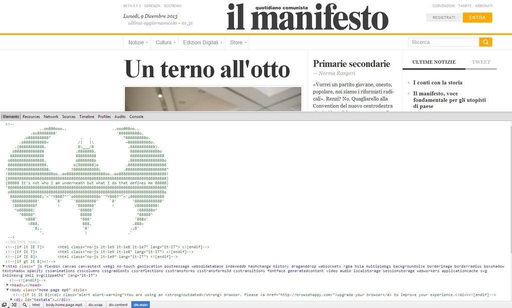 Ghi chú ở mã HTML của trang ilmanifesto.info